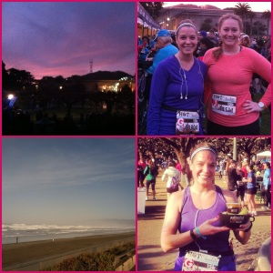 Watched the sunrise, met a new friend, ran 9 miles with beautiful ocean views & was rewarded with chocolate fondue at the finish line.
