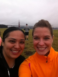Zari & I at Chrissy Field before the 3.5 mile fun run. Can barely see Golden Gate Bridge, it was so foggy